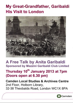Click here for a poster and photograph of Anita Garibaldi's talk in January 2013